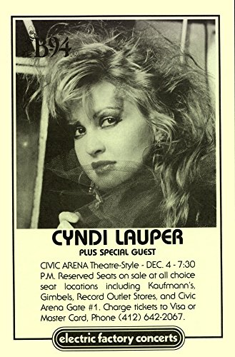 Cyndi Lauper at Civic Arena 1984 Retro Art Print - Poster Size - Print of Retro Concert Poster - Features Cyndi Lauper, Jules Shear, Rick Chertoff, and Lennie Petze. (Top 100 Albums Of All Time Billboard)