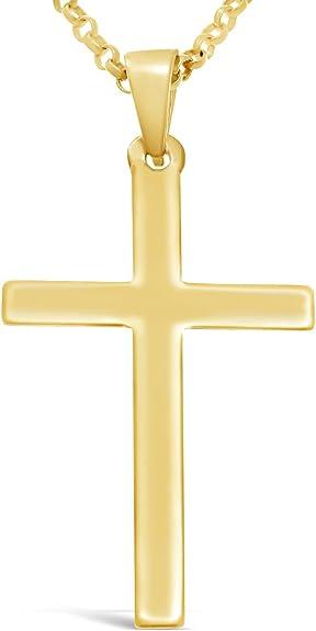 Collier en or 9 carats avec pendentif en croix et chaîne en or de 51 cm