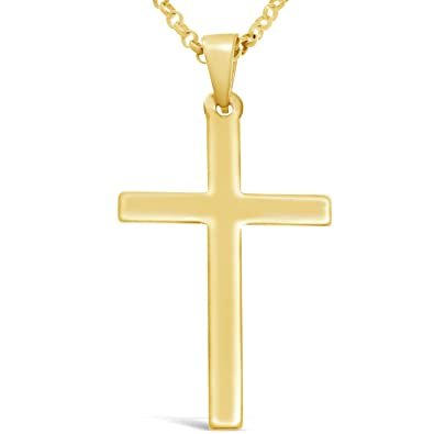Large 9ct Gold Crucifix Cross Pendant Necklace With 18