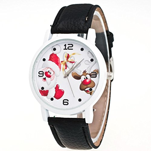 AMA(TM) Women Christmas Santa Claus and Elk Pattern Leather Band Analog Quartz Vogue Wrist Watch (Black)