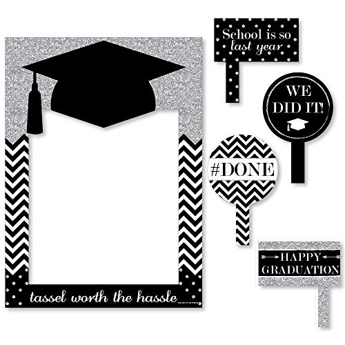 Big Dot of Happiness Silver Tassel Worth The Hassle - Graduation Party Selfie Photo Booth Picture Frame & Props - Printed on Sturdy Material ()