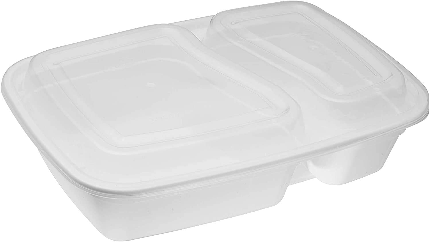 [25 Pack] Meal Prep Containers White 2 Compartment with Lids, Food Storage Bento Box, Microwavable, Disposable, Stir Fry | Lunch Boxes | BPA Free | Freezer/Dishwasher Safe (32 oz)