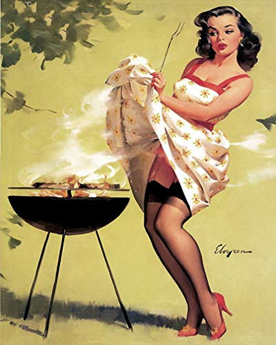 Sylty BBQ Pin up Girl Kitten 12x16 inches Vintage Style Nostalgic Metal Advertising Wall Sign Retro Art