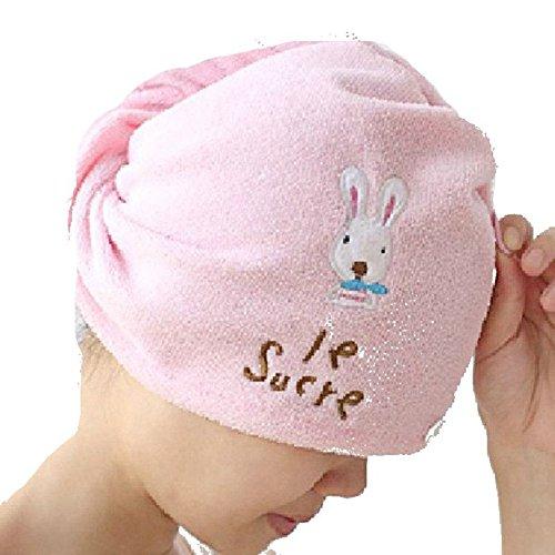 AnchorX Cartoon Waterproof Bath Spa Caps Elastic Hats Warm Shower Cap Pink