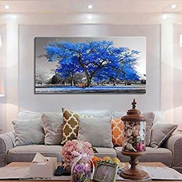 Wall Art Painting Contemporary Blue Tree in Black and White Style Fall Landscape Picture Modern Giclee Stretched and Framed Artwork 24inchx48inch