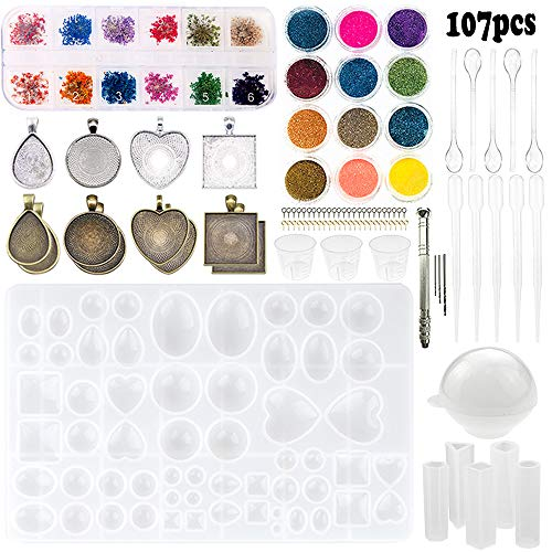 Matte Circle Pendant - Sthabt - 107pcs Silicone Resin Jewelry Casting Mold with Glitter and Flower Decoration DIY Artcraft Project Gift Pendant Making Tools Set for Beginners