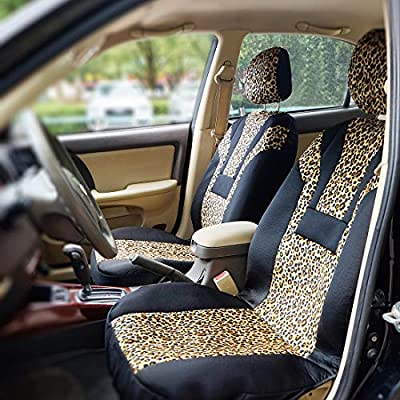 COOLBEBE Car Seat Covers - Leopard Pattern Integrated Auto Seat Cover Car Protector Interior Accessories, Airbag Compatible, Universal Fits for Cars, SUV, Truck: Automotive