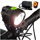 Bright Eyes 1800 Lumen Bicycle Light Set - The Stamina - Super Bright Headlight w/Quad Cree Technology and Light Weight Military Grade Nylon Shell -Free USB Rechargeable Taillight for a Limited Time