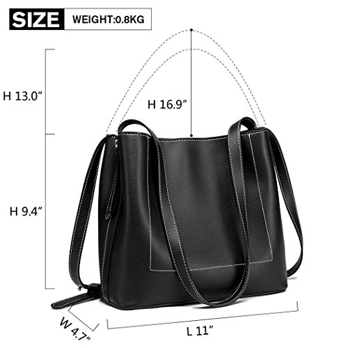 Ladies Double Lulu Bag Handbags Shoulder Women Leather Strap Multi Miss Stylish Pu Black For Compartment ZxOXwtwdq
