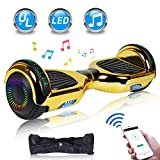UNI-SUN Chrome Hoverboard for Kids, 6.5' Two Wheel Electric Scooter, Self Balancing Hoverboard with Bluetooth and LED Lights for Adults, UL 2272 Certified Hover Board,Bluetooth Gold