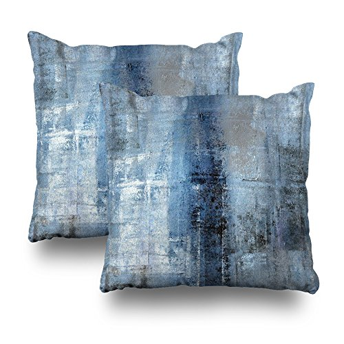 """Suesoso Decorative Pillows Case 18""""X18"""" Set of 2 Two Sides Printed Blue and Grey Abstract Art Throw Pillow Cover Decorative Home Decor Indoor Nice Gift Kitchen Garden Sofa Bed Car Living from Suesoso"""