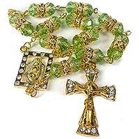 Golden Car Rearview Mirror Rosary Green Crystals Beads & Zircons Cross Jerusalem