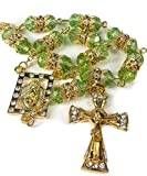 Best Nazareth Market Store Mirrors - Golden Car Rearview Mirror Rosary Green Crystals Beads Review