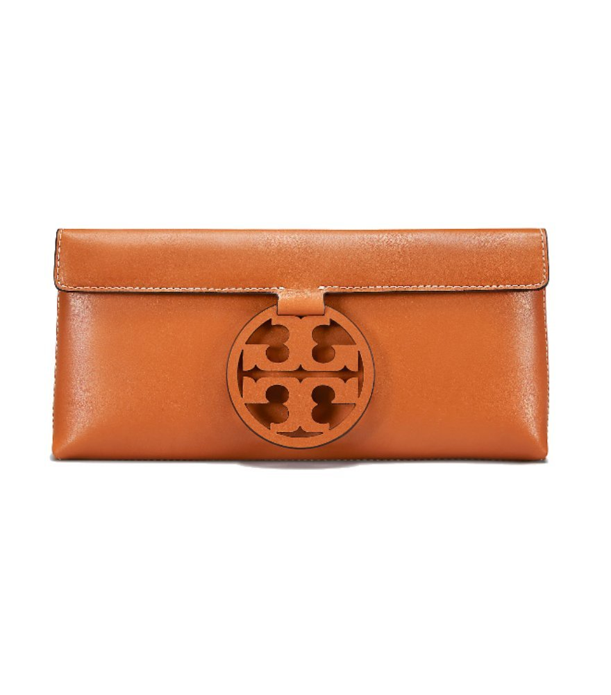 Tory Burch Miller Leather Clutch (Aged Camello) by Tory Burch