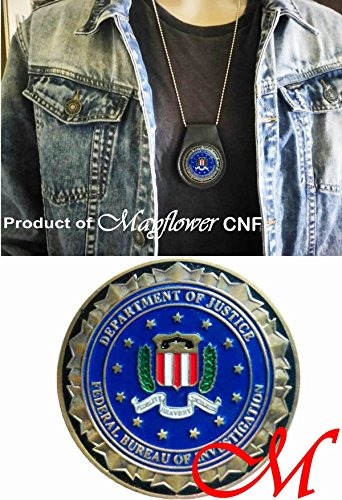 Integrity Fidelity Mayflower CNF Coin /&Leather Holder Bravery FBI Challenge Coin of Federal Bureau of Investigation