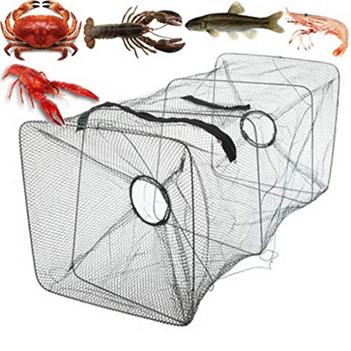 Fishing Net + Floating Ring - Cuboid Saltwater Fishing Cast Net with Circle Alloy Frame Design for Shrimp Net Spring Cage Fishing Net Mud Squid Net Fish Net Squid Cage Medium C (Black)