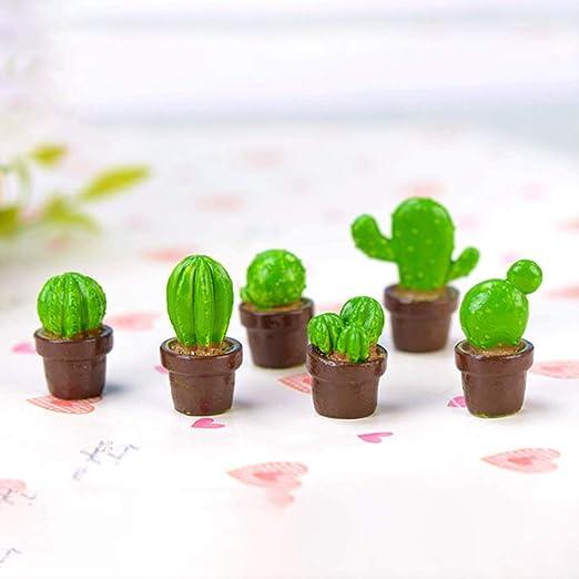 KWOSJYAL 6 Unids/Set Cute Cactus Miniaturas Jardín De Hadas Adornos De Plantas Bonsai Decoración Micro Paisaje Figurilla: Amazon.es: Jardín
