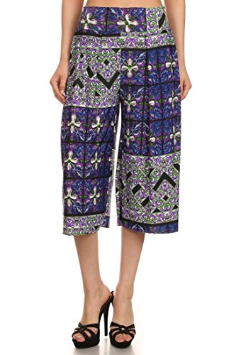 ICONOFLASH Pleated Gaucho Pants with Banded Waist (Lavender Mosiac, ()