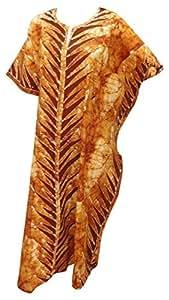 La Leela 100% Cotton Batik Print Plus Size Long Caftan Kaftan Brown
