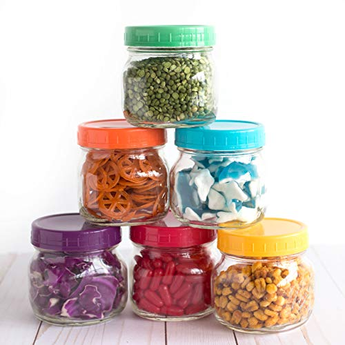 The Goods Mall [14 Pack] Color Plastic Mason Jar Lids - Fits BALL or KERR - 7 Wide Mouth & 7 Regular Mouth by The Goods Mall (Image #4)