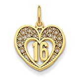 "14K Yellow Gold ""16"" in Heart Charm Pendant"