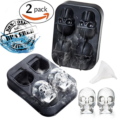 (2 Pack)3D Skull Ice Mold-Food Grade Flexible Silicone Tray with Lid,Makes 4 Exquisite skull Ice Cubes for Your Whisky- Jelly,Candy,Chocolate Mold. Awesome Halloween Gift, BPA Free. (Funnel attached)]()