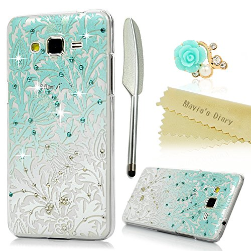 Galaxy Grand Prime Case,Samsung Galaxy Grand Prime G530 Case - Mavis's Diary 3D Handmade Bling Crystal Shiny Diaonds Special Hollow Floral Gradient Pattern Hard PC Clear Cover & Dust Plug & Stylus Pen