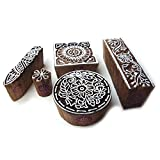 Original Round and Floral Designs Wooden Block Stamps (Set of 5)