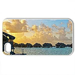 Beautiful Sunset over Water Villas Bora Bora Paradise Island - Case Cover for iPhone 4 and 4s (Sunsets Series, Watercolor style, White)