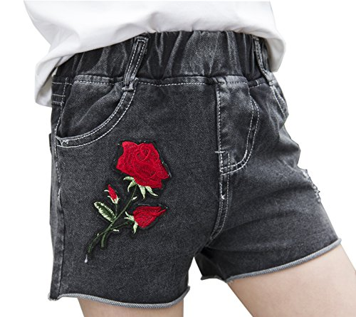 Girls Little Big Kids Summer Cute Rose Jeans Cotton Denim Hot Shorts Black 160 by Sitmptol