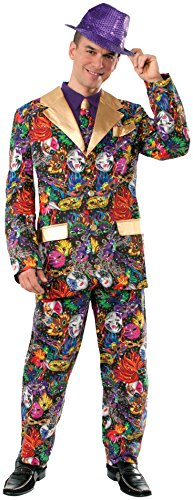 Forum Novelties Men's Mardi Gras Suit and Tie Xl Costume, Multi, (Halloween Costume Ideas Gold Pants)