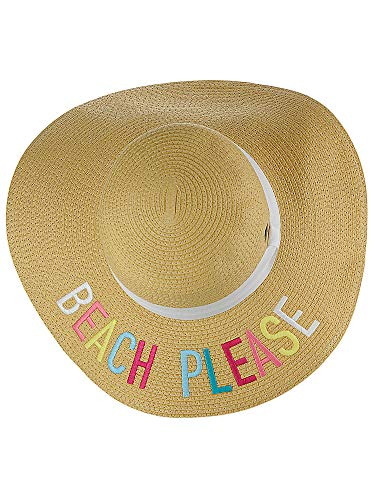 C.C Women's Paper Weaved Crushable Beach Embroidered Quote Floppy Brim Sun Hat, Beach Please in Multicolor