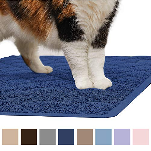 Gorilla Grip Original Premium Durable Cat Litter Mat (35x23), XL Jumbo, No Phthalate, Water Resistant, Traps Litter from Box and Cats, Scatter Control, Soft on Kitty Paws, Easy Clean Mats (Navy)