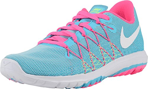 Nike Girl's Flex Fury 2 Running Shoes (5 Big Kid M, Gamma Blue/White/Ghost Green/Pink Blast)