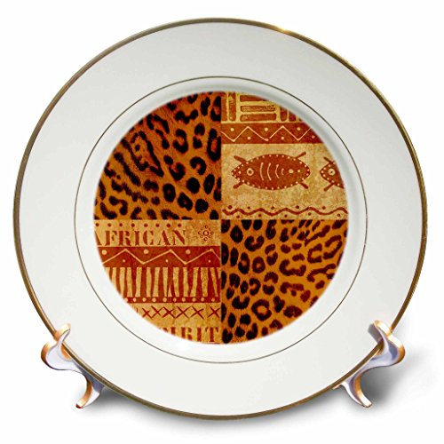 3dRose Andrea Haase Illustration - African Ethno Style Pattern With Leopard Print - 8 inch Porcelain Plate (cp_274845_1) by 3dRose (Image #1)