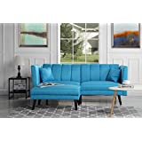 Mid-Century Modern Linen Fabric Futon Sofa Bed, Living Room Sleeper Couch (Sky Blue)