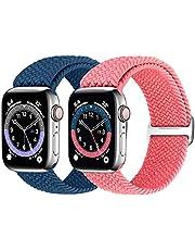 Runostrich Flätat Solo Loop armband kompatibelt med Apple Watch 44 mm 42 mm 40 mm 38 mm, vävt elastiskt ersättningsarmband kompatibelt med iWatch Series 6/5/4/3/2/1/SE män och kvinnor