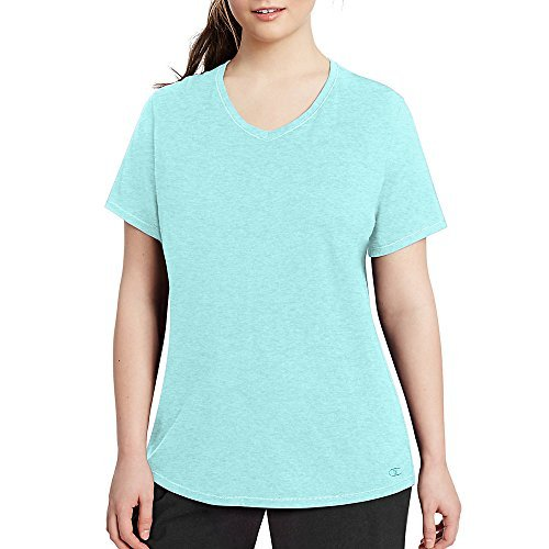 Champion Vapor Women's Plus Jersey V-Neck Tee_Viridian Mint Heather_1X