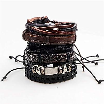 ZUOZUO Leather Wristband Pieces Set Leather Bracelets Men S Charm Bag Female Bracelet Retro Bracelet Bracelet Men S Jewelry Estimated Price £19.99 -