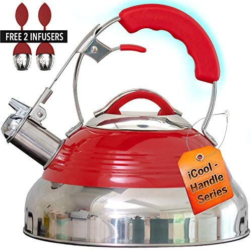 Whistling Tea Kettle Red Hotness with iCool-Handle Technology and 2 Free Infusers for Loose Leaf Tea Surgical Stainless Steel, Compatible on all Stovetops – Induction or Gas 2.8 QT Volume by Pykal