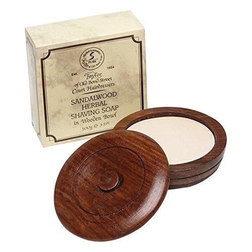 Taylor of Old Bond Street Sandalwood Shaving Soap with Wooden Bowl 100g - Pack of 6