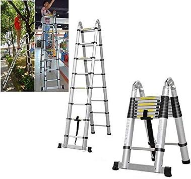 Escalera telescópica plegable de aluminio con marco en A, 5 m, multiusos: Amazon.es: Bricolaje y herramientas