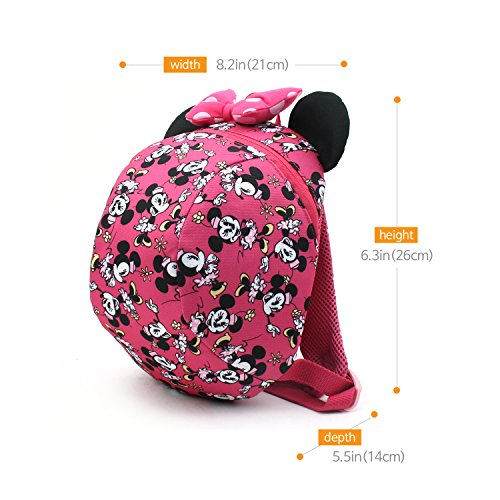 f2c55ccb577 Disney Mickey Minnie Mouse Dome Small Backpack with a Removable Strap to  Prevent Children from Going Missing (Pink - Minne)  Amazon.co.uk  Clothing