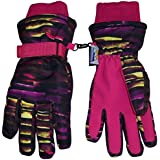 N'Ice Caps Kids Cold Weather Waterproof Camo Print Thinsulate Ski Gloves (Fuchsia Neon Stripe, 9-10 Years)