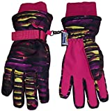 N'Ice Caps Kids Cold Weather Waterproof Camo Print Thinsulate Ski Gloves (Fuchsia Neon Stripe, 8-10 Years)