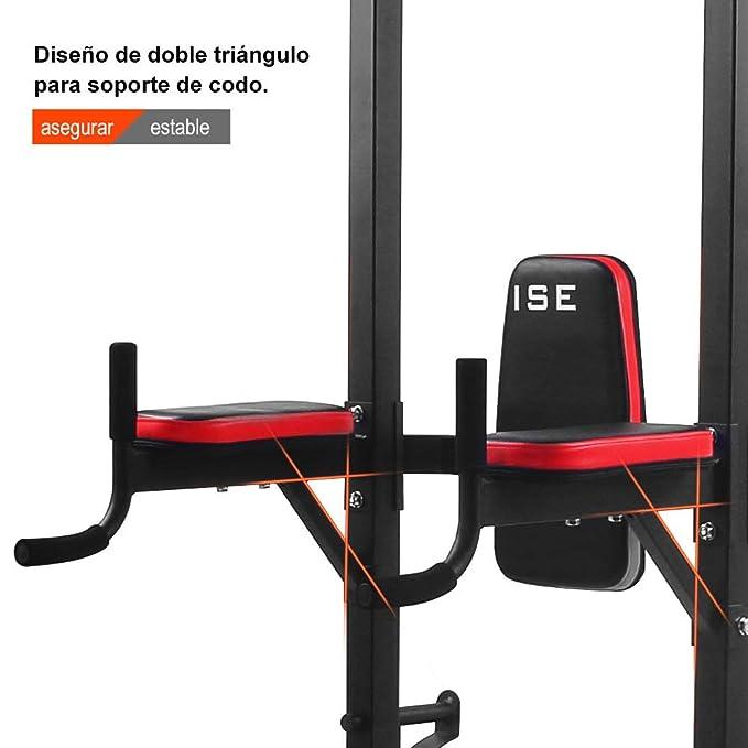 ISE Multiestación maquina de musculación, Estante de cuclillas multifuncional con banco plegable y soportes con mancuernas: silla romana, flexiones, dips, ...