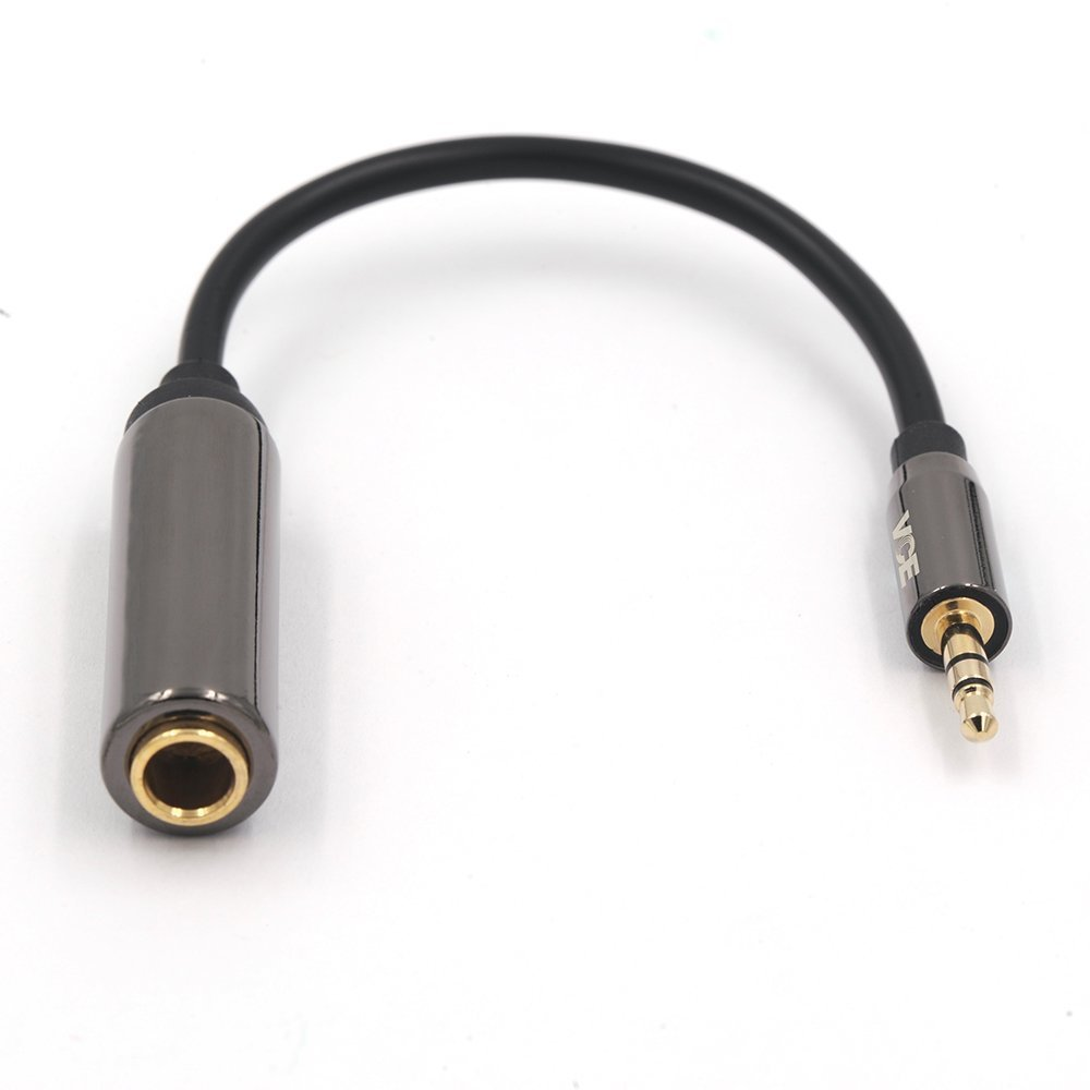 VCE Gold Plated 3.5mm Male to 6.35mm Female Audio Cable 1/4 inch to 1/8 inch Stereo Jack Adapter - 8 inch S8116-1P-CA