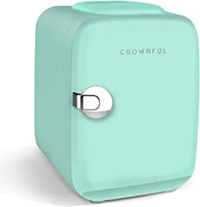 CROWNFUL Mini Fridge, 4 Liter/6 Can Portable Cooler and Warmer Personal Fridge for Skin Care, Cosmetics, Food, Great for Bedroom, Office, Car, Dorm, ETL Listed (Green)