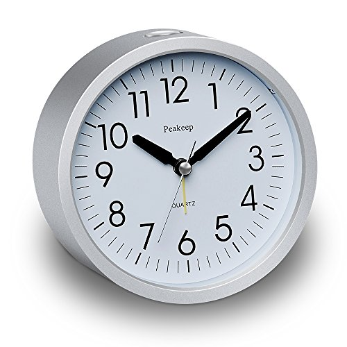 Peakeep 4 inch Round Silent Analog Alarm Clock Non Ticking, Gentle Wake, Beep Sounds, Increasing Volume, Battery Operated Snooze and Light Functions, Easy Set (Silver)