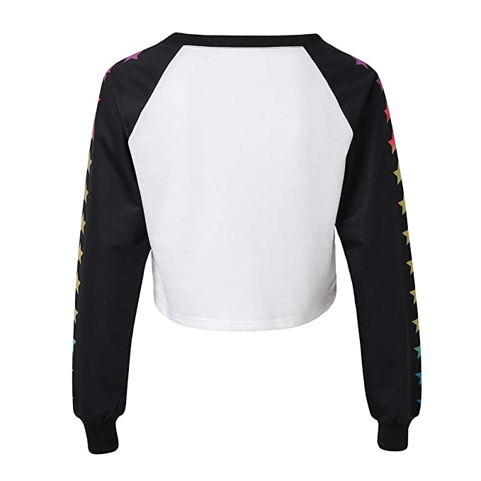 promo code 2414e 9f67a Selou Frauen Casual Langarm Stern Print O Neck Top Bluse ...